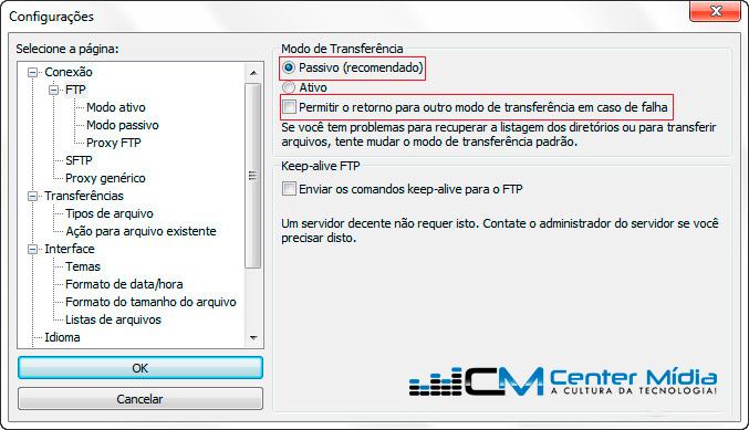 Configuração Filezilla